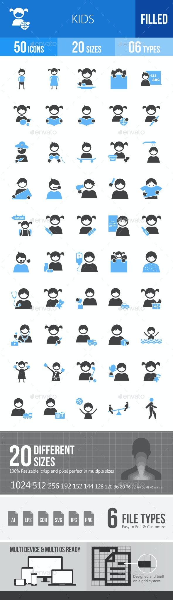 Kids Blue & Black Icons - Icons