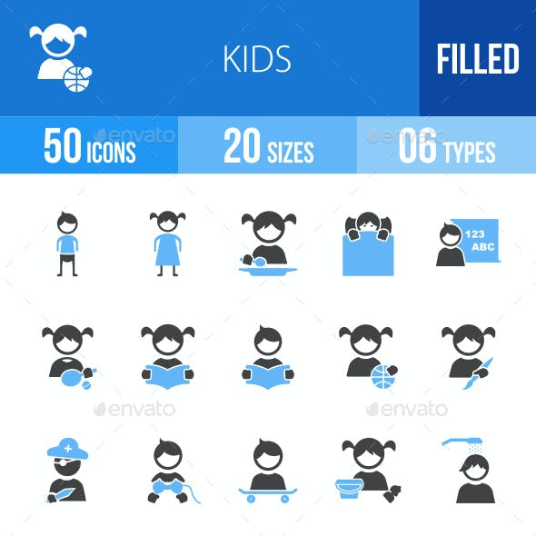Kids Blue & Black Icons