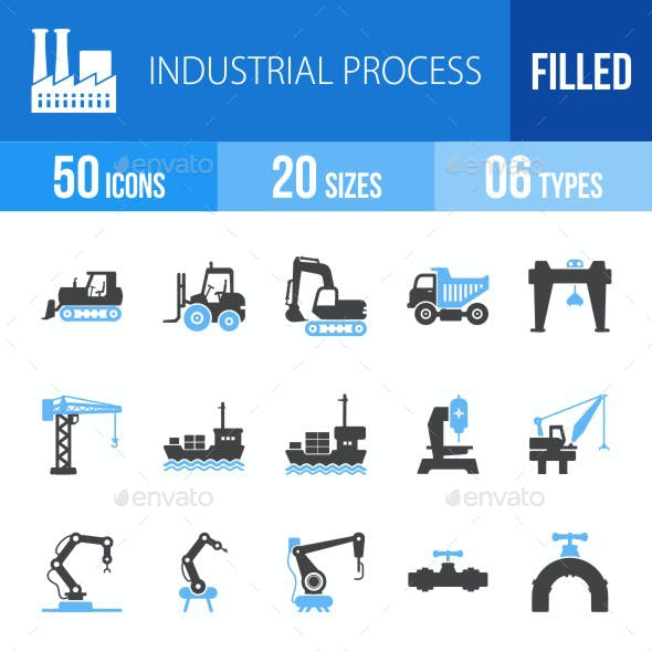 Industrial Process Blue & Black Icons