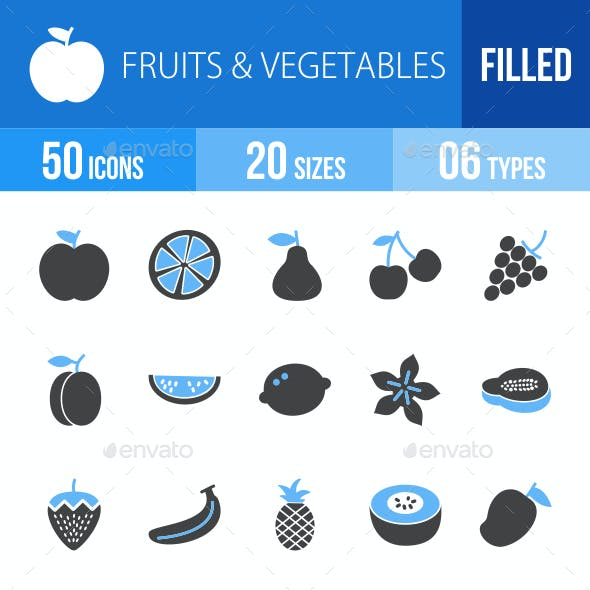 Fruits & Vegetables Blue & Black Icons