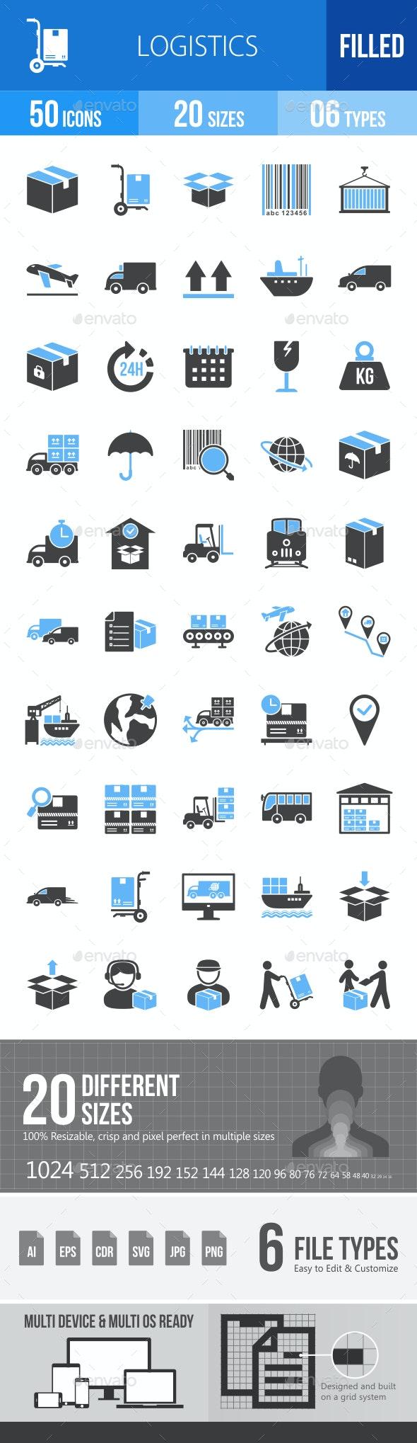Logistics Blue & Black Icons - Icons