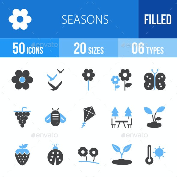 Seasons Blue & Black Icons
