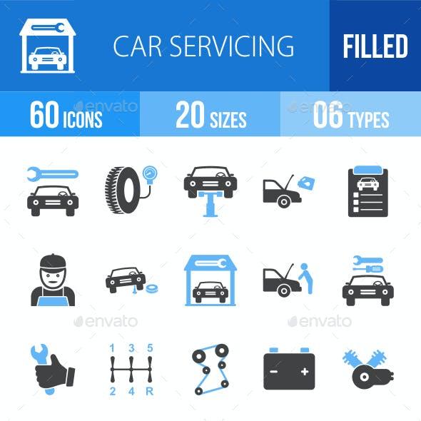 Car Servicing Blue & Black Icons