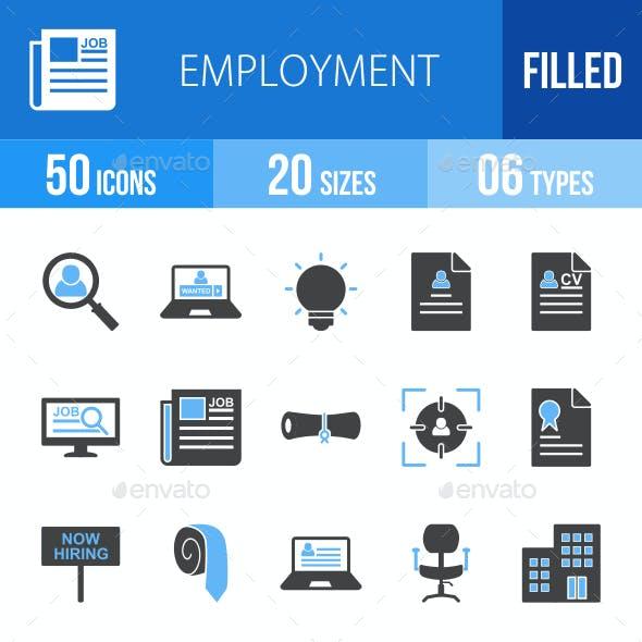 Employment Blue & Black Icons