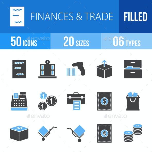 Finances & Trade Blue & Black Icons