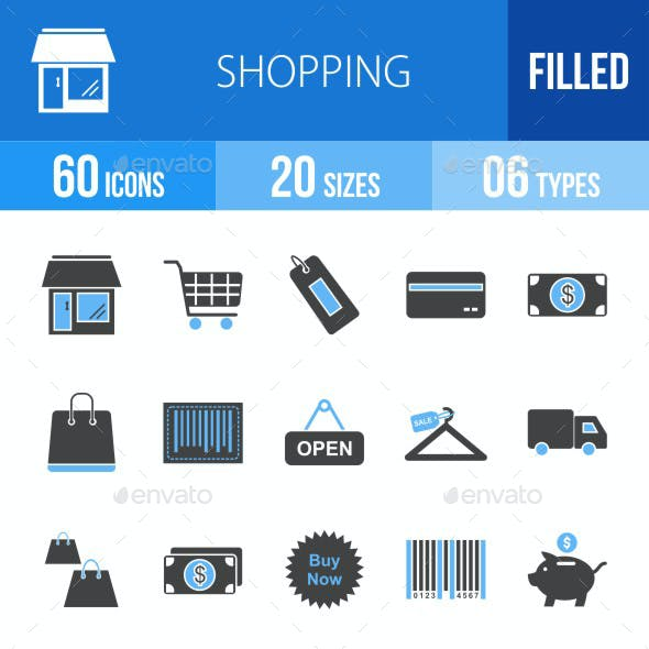 Shopping Blue & Black Icons