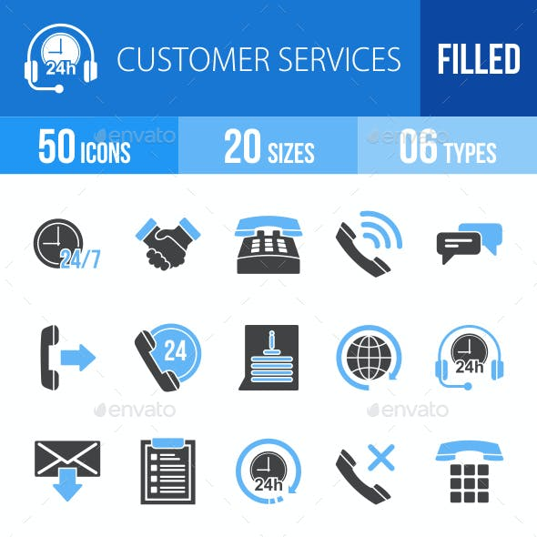 Customer Services Blue & Black Icons