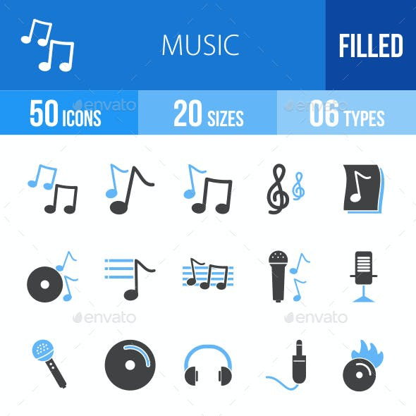 Music Blue & Black Icons