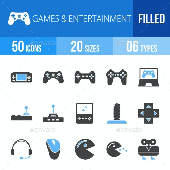 Games & Entertainment Blue & Black Icons