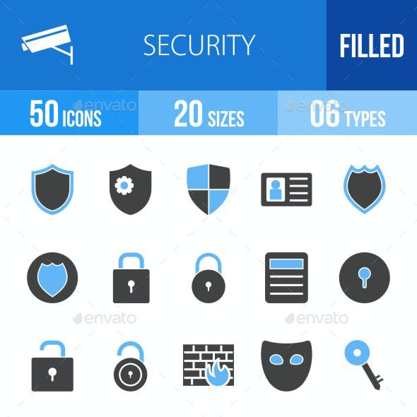 Security Blue & Black Icons