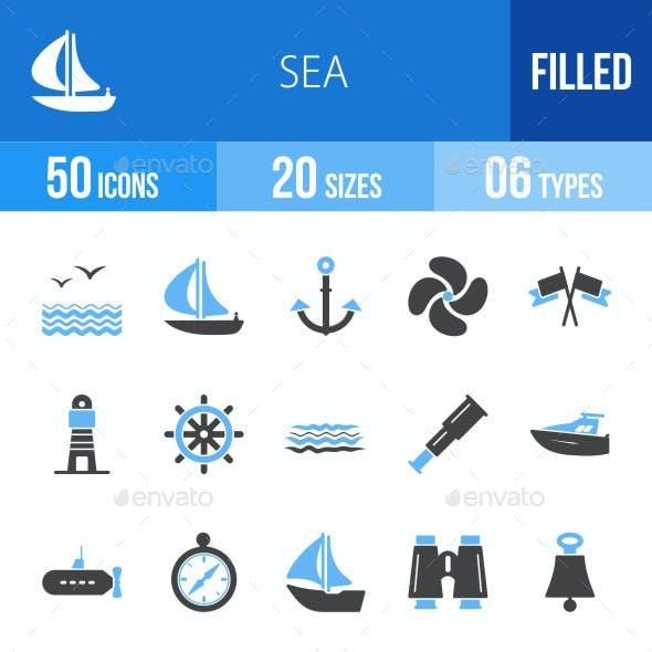 Sea Blue & Black Icons