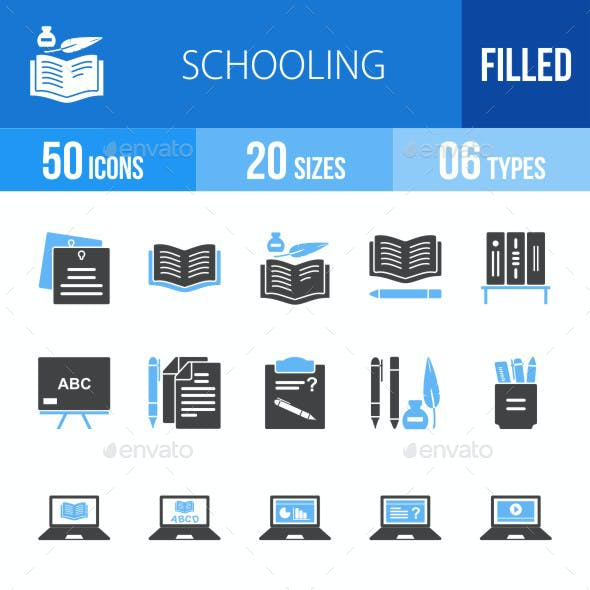 Schooling Blue & Black Icons
