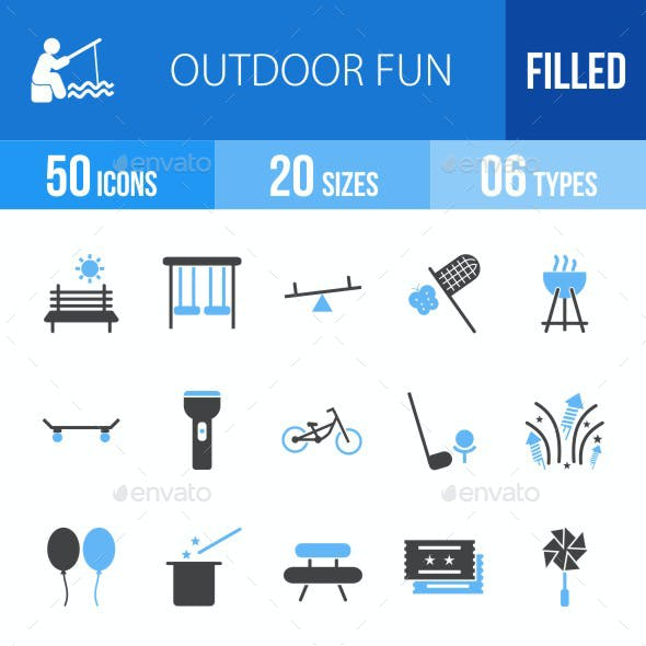 Outdoor Fun Blue & Black Icons