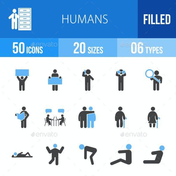 Humans Blue & Black Icons
