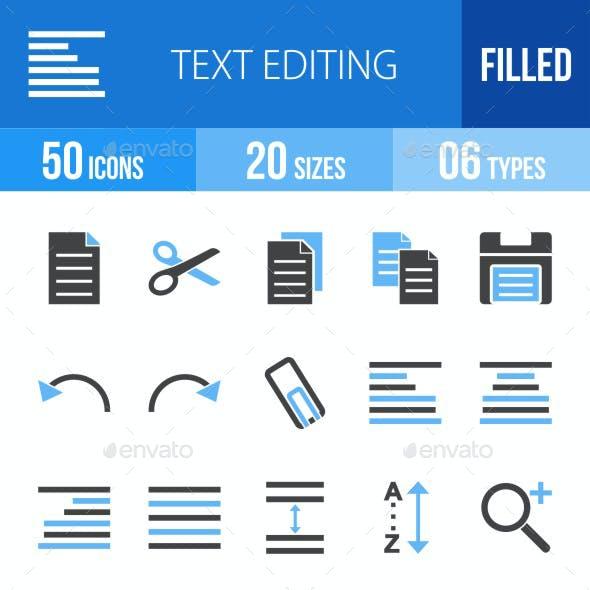 Text Editing Blue & Black Icons
