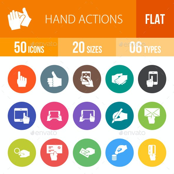 Hand Actions Flat Round Icons