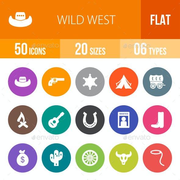 Wild West Flat Round Icons