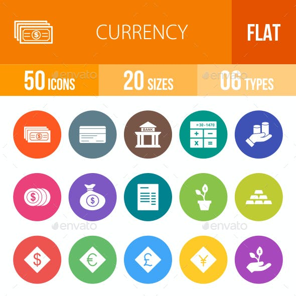Currency Flat Round Icons