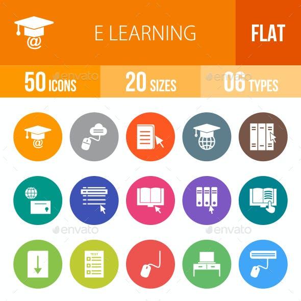 E Learning Flat Round Icons