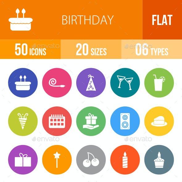 Birthday Flat Round Icons
