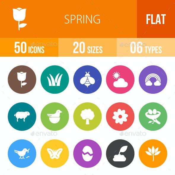 Spring Flat Round Icons
