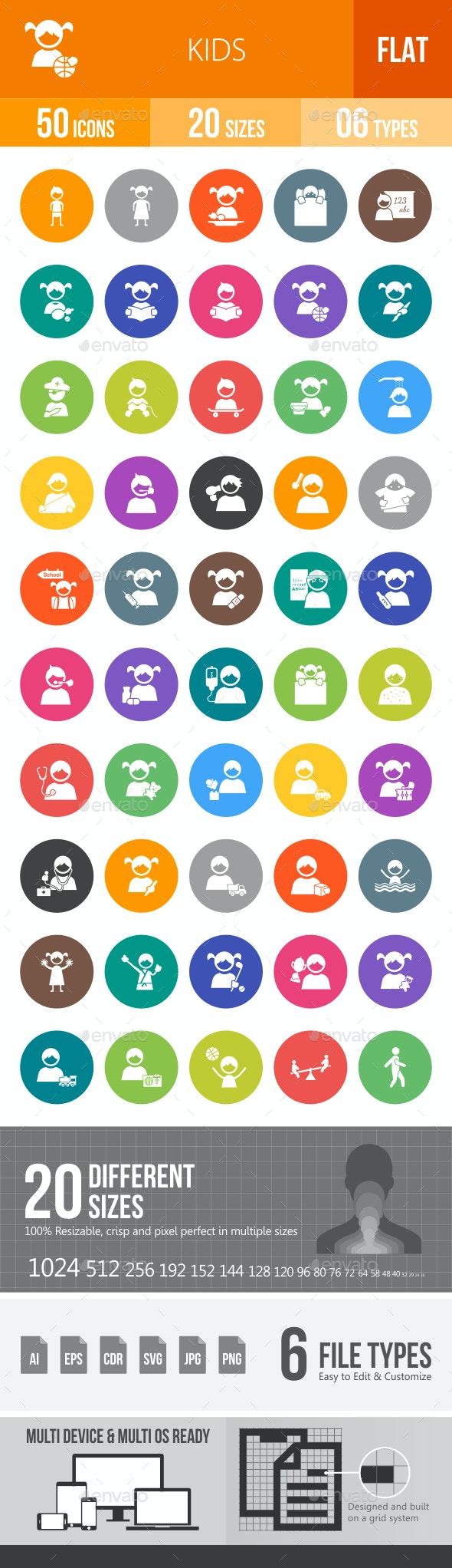 Kids Flat Round Icons - Icons