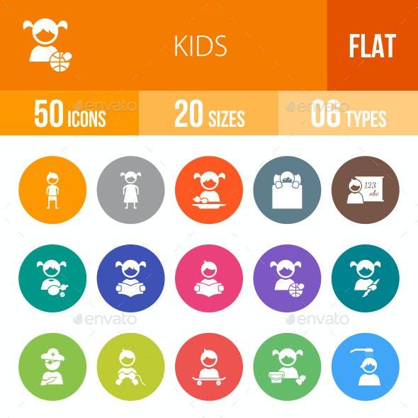 Kids Flat Round Icons