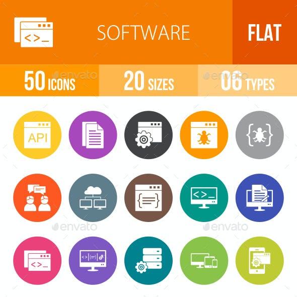 Software Development Flat Round Icons