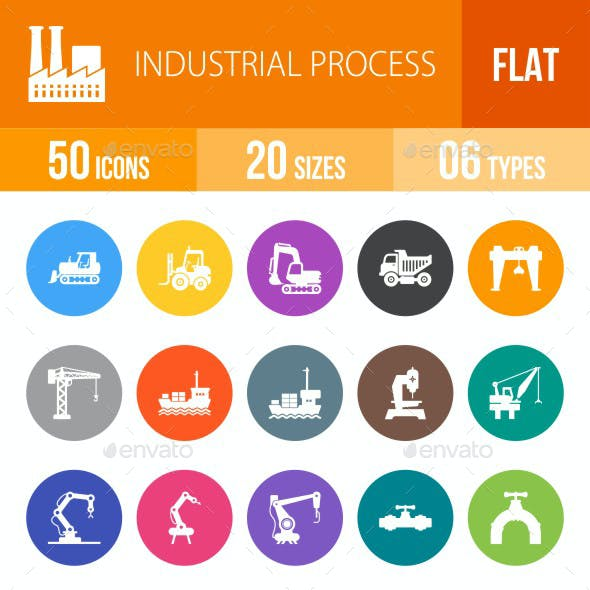Industrial Process Flat Round Icons