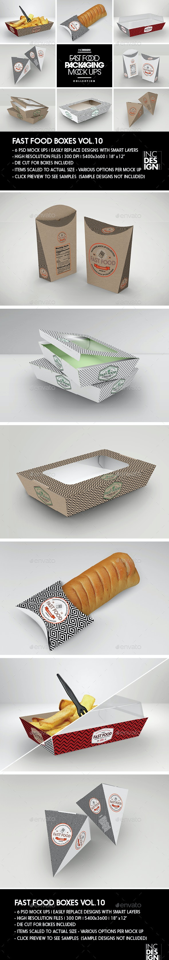 Fast Food Boxes Vol.10:Take Out Packaging Mock Ups - Food and Drink Packaging