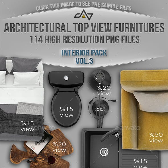 114 Top View Furnitures for 3D Floor Plans Vol 3