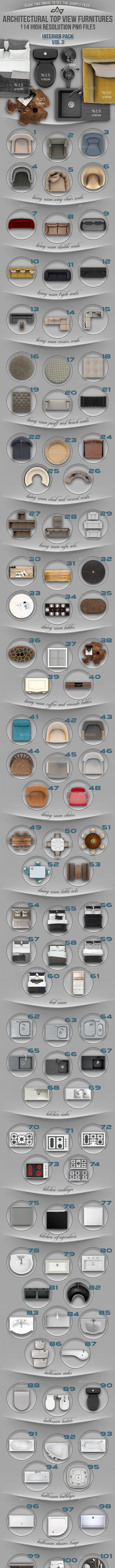 114 Top View Furnitures for 3D Floor Plans Vol 3 - Miscellaneous Product Mock-Ups