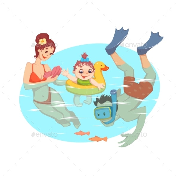Family Having Fun in the Water - People Characters