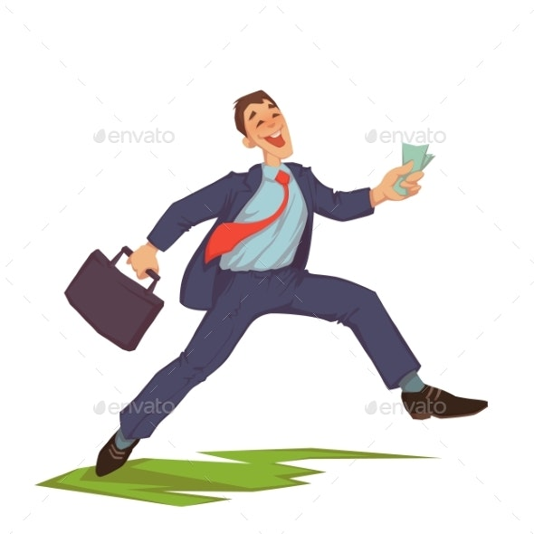 Happy Businessman Throwing Up Money - Concepts Business