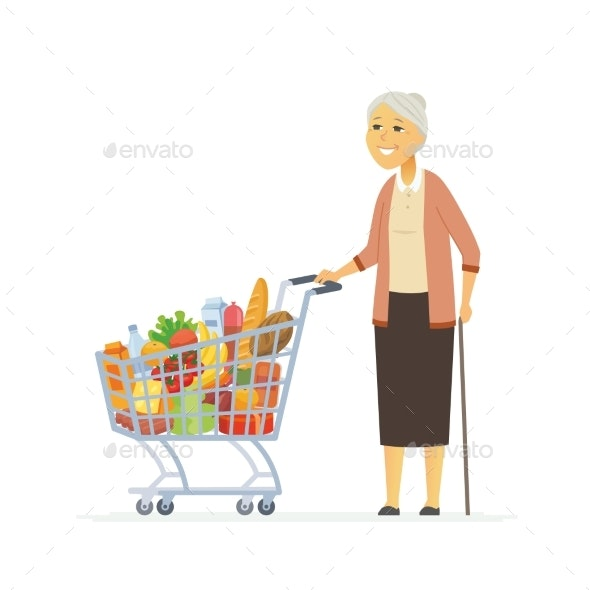 Senior Woman with a Shopping Cart - People Characters