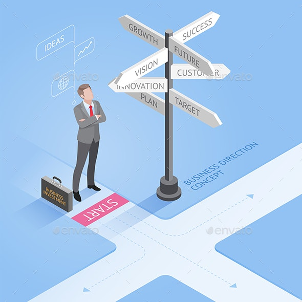 Businessman Standing at Directional Signs Arrows - People Characters