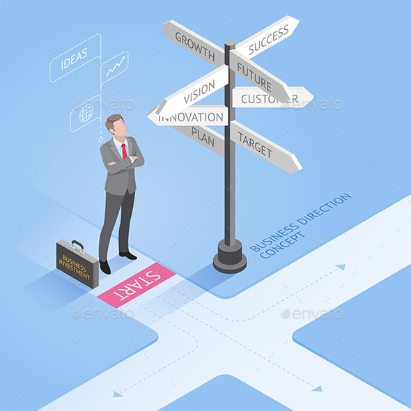 Businessman Standing at Directional Signs Arrows
