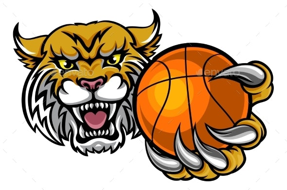 Wildcat Holding Basketball Mascot - Sports/Activity Conceptual
