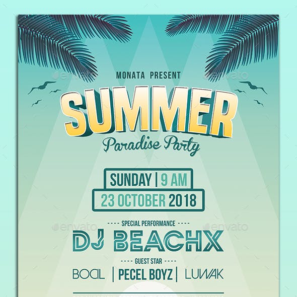 Summer Paradise Party Flyers