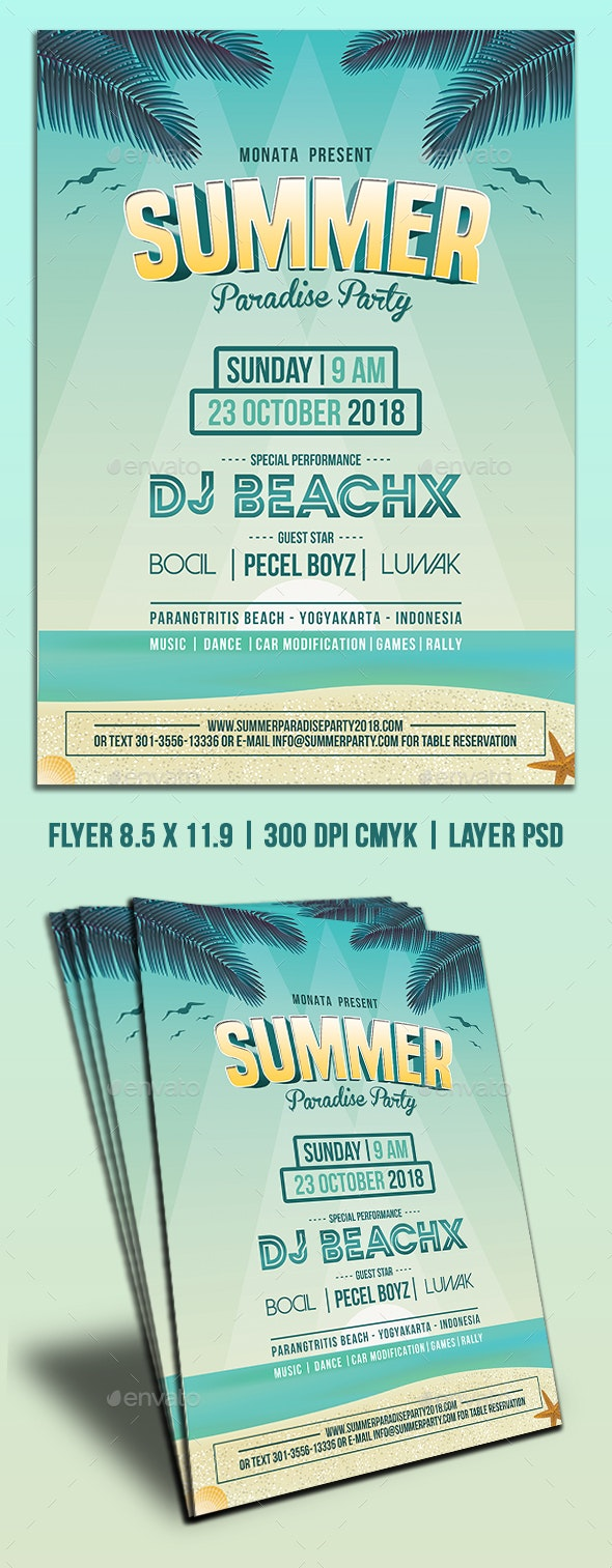 Summer Paradise Party Flyers - Clubs & Parties Events
