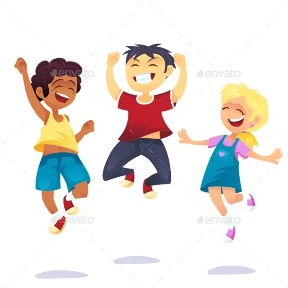 School Multiracial Children Joyfully Jumping - People Characters