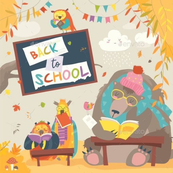 Bear and Owls and Reading Books in Autumn - Miscellaneous Vectors