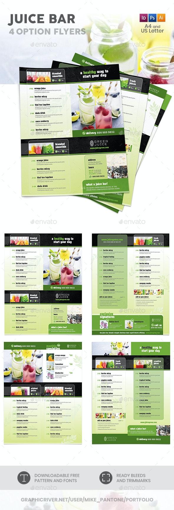 Juice Bar Menu Flyers – 4 Options - Food Menus Print Templates