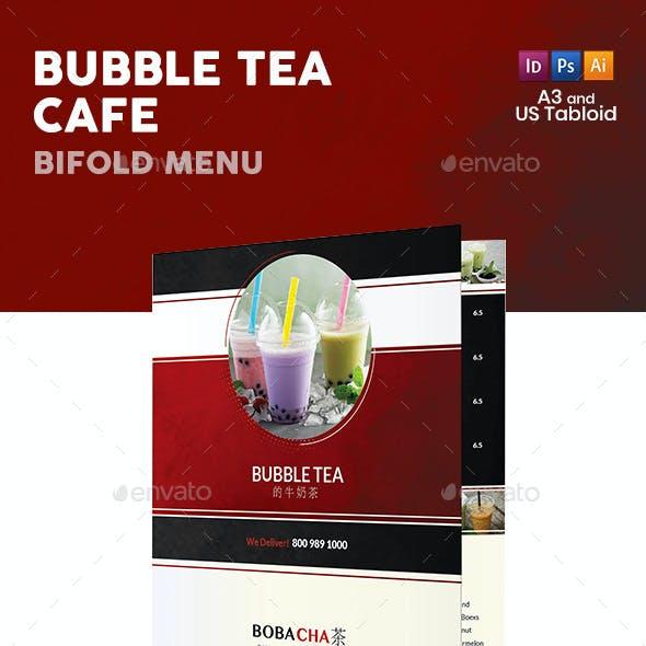 Bubble Tea Cafe Bifold / Halffold Menu 2