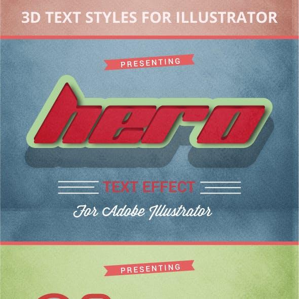 3D Vintage & Retro Graphic Styles for Illustrator