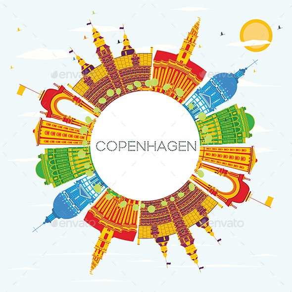 Copenhagen Denmark City Skyline with Color Buildings, Blue Sky and Copy Space. - Buildings Objects