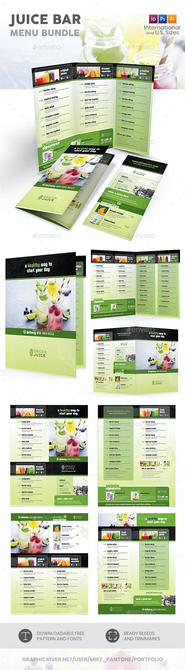 Juice Bar Menu Print Bundle - Food Menus Print Templates