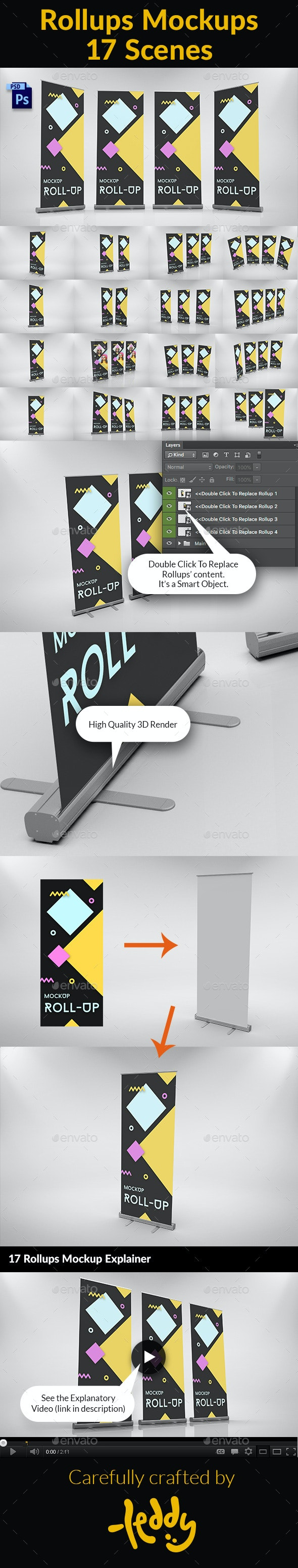 17 Rollups Mockups - Signage Print