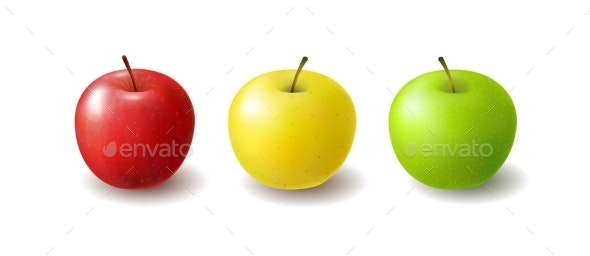 Group of Isolated Realistic Colored Apples Set - Food Objects