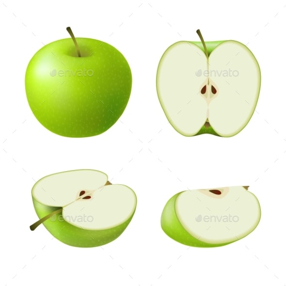 Set of Isolated Colored Green Apples - Food Objects